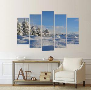 канава; картина; картина на канава; картина пейзаж; картина природа; картина зима; картина зимен пейзаж; зима в планината; картина от пет части; картина от части; картина сняг