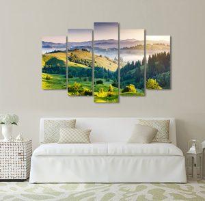 картина планини, канава; картина; картина залез; картина на PVC; картина на канава; картина пейзаж; планински пейзаж; пейзаж; картина за стена; декоративно пано; декорация за стена; картина от пет части; картина от части;