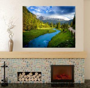 планинска река, канава; картина; картина за стена; картина на PVC; картина на канава; картина пейзаж; картина природа; река; планински пейзаж;