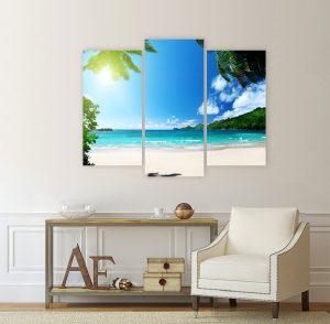 летен пейзаж, картина плаж; канава; картина; картина море; картина на PVC; картина на канава; картина от три части; картина от части; картина пейзаж; плаж; морски пейзаж; пясък; море;