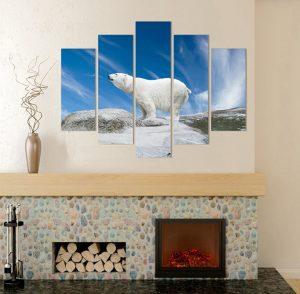 канава; картина; картина за стена; картина зима; картина зимен пейзаж; картина на PVC; картина на канава; картина пейзаж; бяла мечка; картина бяла мечка; картина от пет части, картина от части, картина животни