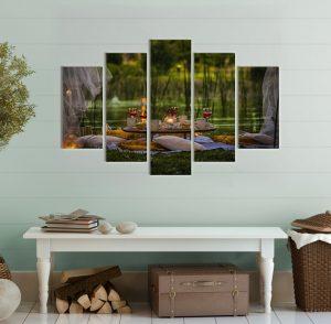 картина дзен; картина спа; канава; картина; картина за стена; декоративно пано; декорация за стена; закуска на тревата; картина от пет части, картина от части