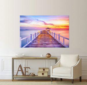 картина морски залез, канава; картина; картина за стена; картина залез; картина мост; картина на PVC; картина на канава; картина пейзаж; декорация за стена; декоративно пано; морски залез; картина море; море; залез; природен пейзаж