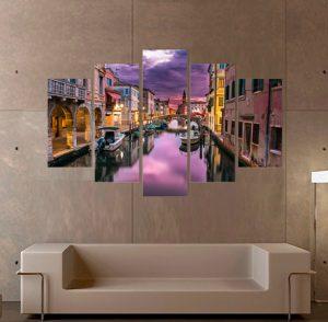019 картина Венеция; Венеция; канава; картина; картина за стена; картина на PVC; картина на канава; картина пейзаж; картина с висока резолюция; декоративно пано; декорация за стена; висококачествен печат; снимка върху платно; градски пейзаж; град; лодки; река, картина от части, картина от пет части