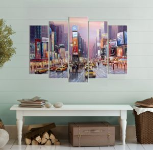 картина Ню Йорк, картина Венеция; Венеция; канава; картина; картина за стена; картина на PVC; картина на канава; картина пейзаж; картина с висока резолюция; декоративно пано; декорация за стена; висококачествен печат; снимка върху платно; градски пейзаж; град; лодки; река; картина от пет части; картина от части;