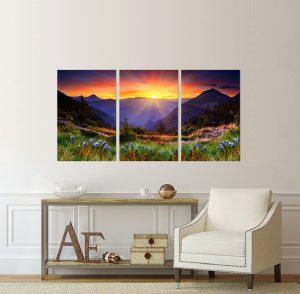 планински пейзаж; снимка върху платно; канава; картина; картина на канава; картина на PVC; картина природа; декоративно пано; декорация за стена; залез; картина залез; залез в планината; картина от части, картина от три части