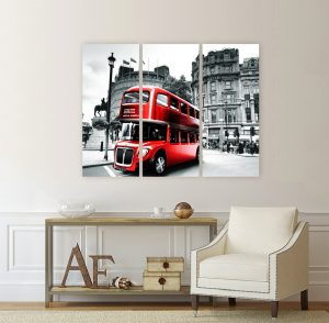 картина лондон; лондон; лондонски автобус; двуетажен автобус; червен автобус; канава; картина; картина за стена; картина на PVC; картина на канава; картина с висока резолюция; градски пейзаж; декоративно пано; декорация за стена; картина от три части; картина от части;