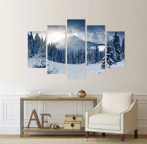 зима в планината; картина зима; картина зимен пейзаж; зимен пейзаж; канава; картина; картина за стена; картина на PVC; картина на канава; картина пейзаж; картина природа; картина с висока резолюция; декоративно пано; декорация за стена;зима, сняг, природа, картина от части, картина от пет части