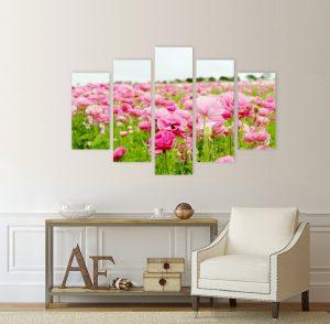 картина поле с цветя, поле с цветя; цветно поле; цветя; картина цветя; канава; картина; картина за стена; картина на PVC; картина на канава; картина пейзаж; картина природа; картина с висока резолюция; декоративно пано; декорация за стена; картина от части, картина от пет части