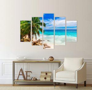 картина тропически пейзаж, канава; картина; картина море; картина на PVC; картина на канава; картина пейзаж; картина природа; картина с висока резолюция; декоративно пано; декорация за стена; море; палми; пейзаж; пясък; природен пейзаж; природа; слънчев пейзаж; снимка върху платно; картина плаж; плаж, картина от пет части, картина от части