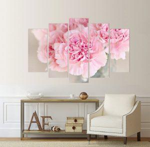 картина розови цветя, картина цветя; цветя; канава; картина; картина за стена; картина на канава; картина на PVC; картина с висока резолюция; декоративно пано; декорация за стена; висококачествен печат; цвете; розови цветя, картина от части, картина от пет части