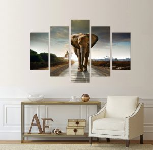картина слон; африкански слон; африка; слон; слон на пътя; канава; картина; картина животни; картина залез; картина за стена; картина на PVC; картина на канава; картина пейзаж; картина природа; картина с висока резолюция; декоративно пано; декорация за стена; висококачествен печат; снимка върху платно; африкански животни; картина от пет части; картина от части;