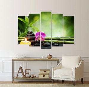 картина орхидея, канава; картина; картина дзен; картина за стена; картина на PVC; картина на канава; картина спа; декоративно пано; декорация за стена; висококачествен печат; снимка върху платно; свещи; цветя; хармония; спокойствие; картина от пет части; картина от части;