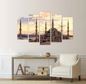 картина Истанбул, Истанбул; картина храм; храм; канава; картина; картина залез; картина на PVC; картина на канава; картина пейзаж; картина с висока резолюция; декоративно пано; декорация за стена; градска забележителност; градски пейзаж; картина от пет части; картина от части;