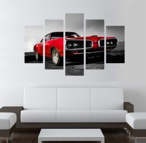 Додж; картина Додж; американска кола; кола; картина; картина за стена; картина на PVC; картина на канава; картина пейзаж; картина с висока резолюция; ретро картина; ретро кола; класически автомобил; червен дожд; червена кола; декоративно пано; декорация за стена; висококачествен печат; картина от пет части; картина от части;