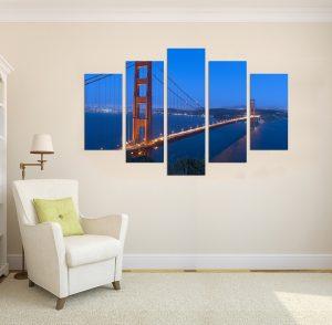картина Голдън Гейт, голдън гейт; канава; картина; картина за стена; картина море; картина мост; картина на PVC; картина на канава; картина пейзаж; картина с висока резолюция; декоративно пано; декорация за стена; висококачествен печат; нощен пейзаж; градски пейзаж; град; море; мост; картина от пет части; картина от части;