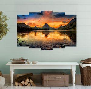 картина езеро, вулкан; залез в планината; планински пейзаж; планинско езеро; декоративно пано; декорация за стена; висококачествен печат; картина с висока резолюция; снимка върху платно; канава; картина; картина за стена; картина залез; картина на PVC; картина на канава; картина пейзаж; картина природа; кристална вода; картина от пет части; картина от части;