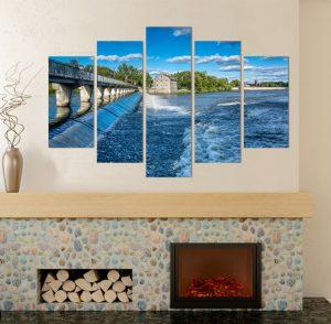 речен парк Канада, картина природен пейзаж, канава; картина; картина за стена; картина мост; картина на PVC; картина на канава; картина пейзаж; картина природа; картина с висока резолюция; декоративно пано; декорация за стена; висококачествен печат; снимка върху платно; град; градски пейзаж; природа; природен пейзаж; картина от пет части; картина от части;