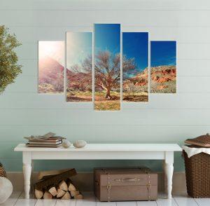 картина дърво, дърво; пустинен пейзаж; пустиня; залез; залез в планината; картина залез; декорация за стена; канава; картина; картина за стена; картина на PVC; картина на канава; картина пейзаж; картина природа; картина с висока резолюция; декоративно пано; висококачествен печат; снимка върху платно; картина от пет части; картина от части;