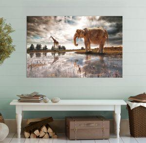 картина африкански животни, африкански животни; африка; африкански слон; жираф; висококачествен печат; картина пейзаж; пейзаж; природен пейзаж; залез; картина залез; картина животни; картина с животни; канава; картина; картина на PVC; картина на канава; картина с висока резолюция; картина за стена;
