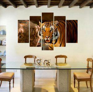 картина от 5 части; картина от пет части; картина от части; тигър; картина тигър; африканско животно; картина с животни; картина животни; канава; картина; картина за стена; картина на PVC; картина на канава; картина с висока резолюция; ка; декоративно пано; декорация за стена; висококачествен печат; снимка върху платно;