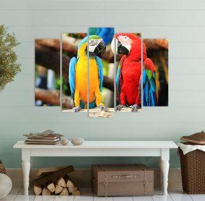 картина от 5 части; картина от пет части; картина от части; папагали; картина папагали; макао; канава; картина; картина животни; картина за стена; картина на PVC; картина на канава; картина с висока резолюция; декоративно пано; декорация за стена; висококачествен печат; снимка върху платно; картина с животни; птици;