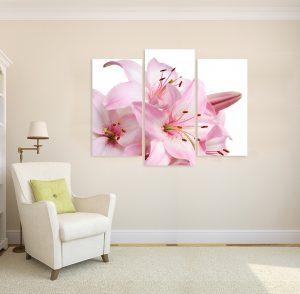 картина от 3 части; картина от три части; картина от части; картина лилиум; лилиум; розови цветя; картина цветя; цветя; канава; картина; картина за стена; картина на PVC; картина на канава; картина с висока резолюция; декоративно пано; декорация за стена; висококачествен печат; снимка върху платно;