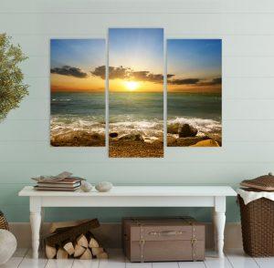 картина от 3 части; картина от три части; картина от части; залез; залез над морето; картина за стена; картина залез; море; морски залез; морски пейзаж; картина море; плаж; снимка върху платно; канава; картина; картина на PVC; картина на канава; картина пейзаж; картина природа; картина с висока резолюция; декоративно пано; декорация за стена; висококачествен печат;
