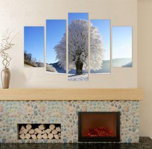 картина от 5 части; картина от пет части; картина от части; зима; зимен пейзаж; картина зима; картина зимен пейзаж; дърво; заскрежено дърво; висококачествен печат; картина с висока резолюция; снимка върху платно; декоративно пано; декорация за стена; канава; картина; картина за стена; картина на PVC; картина на канава; картина природа;