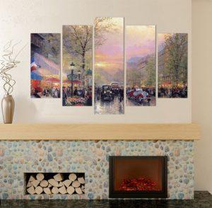 картина градски пейзаж, картина от 5 части; картина от пет части; картина от части; репродукция; ретро картина; картина с висока резолюция; град; градски пейзаж; декоративно пано; декорация за стена; висококачествен печат; снимка върху платно; канава; картина; картина за стена; картина на PVC; картина на канава; залез; залез над града;