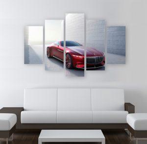 картина от 5 части; картина от пет части; картина от части; Майбах; картина Майбах; канава; картина; картина за стена; картина на PVC; картина на канава; картина с висока резолюция; кола; червена кола; декоративно пано; декорация за стена; висококачествен печат; снимка върху платно;
