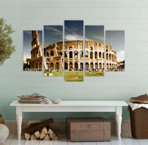 картина от 5 части; картина от пет части; картина от части; Картина колизеум; колизеум; забележителност; декорация за стена; градска забележителност; картина за стена; световни забележителности; декоративно пано; висококачествен печат; картина с висока резолюция; снимка върху платно;