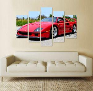 картина от 5 части; картина от пет части; картина от части; Картина Ferrari f40; Ferrari f40; червена кола; кола; спортна кола; червено Ферари; Ферари; канава; картина; картина за стена; картина на PVC; картина на канава; картина с висока резолюция; декоративно пано; декорация за стена; висококачествен печат; снимка върху платно;