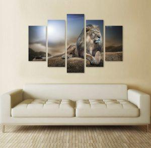 Зима в планината, картина лъв, картина от 5 части; картина от пет части; картина от части; лъв; картина лъв; картина с висока резолюция; картина с животни; африканско животно; африкански животни; картина животни; декоративно пано; декорация за стена; висококачествен печат; снимка върху платно; канава; картина; картина за стена; картина на PVC; картина на канава; картина пейзаж; картина природа; природа; природен пейзаж;