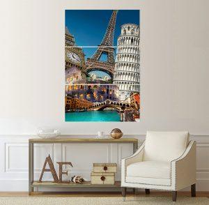канава; картина; картина Айфелова кула; картина Венеция; картина на PVC; картина мост; картина на канава; картина с висока резолюция; декоративно пано; декорация за стена; висококачествен печат; снимка върху платно; кулата в Пиза; колизеум; Биг Бенд; забележителност; градска забележителност; картина от три части; картина от части; картина европа; европа;