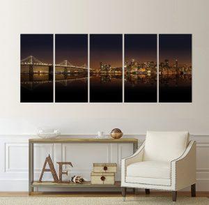 Сан Франциско; картина Сан Франциско; град; градски пейзаж; панорамен пейзаж; панорамна картина; канава; картина; картина за стена; картина на PVC; картина на канава; картина пейзаж; картина с висока резолюция; висококачествен печат; нощен пейзаж; картина от пет части; картина от части;