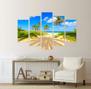 картина от 5 части; картина от пет части; картина от части; картина плаж; плаж; тропически плаж; тропически пейзаж; летен пейзаж; лято; море; палми; канава; канаваца; картина; картина за стена; картина на PVC; картина на канава; картина природа; картина с висока резолюция; морски пейзаж; декоративно пано; декорация за стена; висококачествен печат; снимка върху платно;