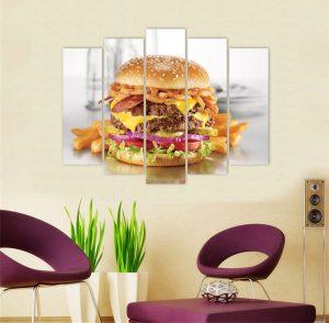 картина от 5 части; картина от пет части; картина от сектори; картина от части; картина хамбургер; картина за закусвални; картини за заведения; бърза храна; картина бърза храна; картина закуска; картина с храни и напитки; картини с храни; канава; картина; картина за заведения; картина за кухня; картина за стена; картина на PVC; картина на канава; декоративно пано; декорация за стена; висококачествен печат; картина с висока резолюция; снимка върху платно;