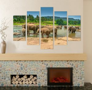 картина от 5 части; картина от пет части; картина от сектори; картина от части; слонове; картина слонове; стадо слонове; слонове на водопой; африкански животни; африканско животно; африкански слон; африка; оазис; канава; картина; картина за стена; картина на PVC; картина на канава; картина природа; картина с животни; картина с висока резолюция; картина слон; декоративно пано; декорация за стена; висококачествен печат; снимка върху платно;