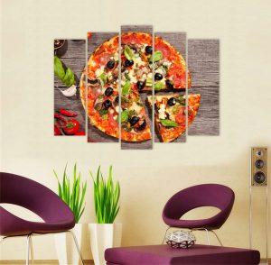 картина от 5 части; картина от пет части; картина от сектори; картина от части; пица; картина пица; картина за заведения; картина за закусвални; картина за кухня; картина за ресторанти; картина за стена; бърза храна; картина бърза храна; картина за пицарии; картини за пицария; канава; картина; картина на PVC; картина на канава; картина с храни и напитки; декоративно пано; декорация за стена; картина с висока резолюция; снимка върху платно; висококачествен печат;
