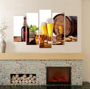 картина от 5 части; картина от пет части; картина от сектори; картина от части; бира; картина бира; картина за бирария; картина за заведения; картини за заведения; картина с храни и напитки; напитки; декоративно пано; декорация за стена; картина с висока резолюция; снимка върху платно; висококачествен печат; канава; картина за стена; картина на PVC; картина на канава;