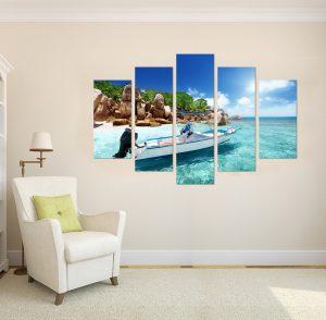 картина летен пейзаж, картина от пет части; картина от части; картина от 5 части; картина от сектори; летен пейзаж; картина море; море; картина плаж; плаж; тропически плаж; лодка; кристална вода; скали, скален пейзаж; летен морски пейзаж; морски пейзаж; тропически пейзаж; канаваца; канада; картина; картина за стена; картина на PVC; картина на канава; картина пейзаж; картина природа; картина с висока резолюция; декоративно пано; декорация за стена; висококачествен печат; снимка върху платно;