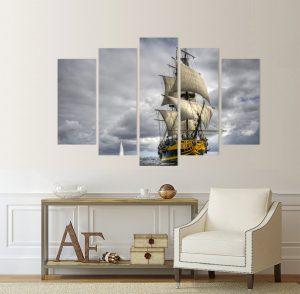 картина от 5 части; картина от пет части; картина от части; картина от сектори; ветроходен кораб; картина ветроходен кораб; платноходен кораб; кораб с платна; картина кораб; картина море; море; канава; канаваца; картина; картина за стена; картина на PVC; картина на канава; картина с висока резолюция; декоративно пано; декорация за стена; висококачествен печат; снимка върху платно;