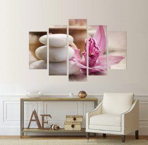 картина от 5 части; картина от пет части; картина от сектори; картина от части; спа композиция; картина спа; спа; канава; картина; картина дзен; картина за стена; картина на PVC; картина на канава; картина с висока резолюция; релакс; декоративно пано; декорация за стена; висококачествен печат; снимка върху платно; салон за красота; картина цветя; цвете; дзен картина, орхидея, спа камъни, картина за спа салон, картина за спа салон;
