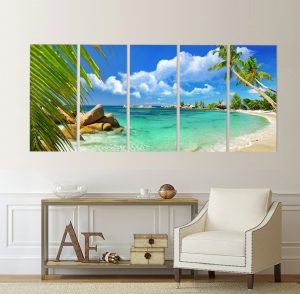 картина от 5 части; картина от пет части; картина от сектори; картина от части; канава; картина; картина море; картина на PVC; картина на канава; картина пейзаж; картина природа; картина с висока резолюция; декоративно пано; декорация за стена; море; палми; пейзаж; пясък; природен пейзаж; природа; слънчев пейзаж; снимка върху платно; картина плаж; плаж, екзотичен плаж;