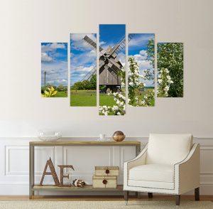 картина от 5 части; картина от пет части; картина от сектори; картина от части; картина вятърна мелница; вятърна мелница; картина природа; приказен пейзаж; природа; природен пейзаж; канава; картина; картина за стена; картина на PVC; картина на канава; картина пейзаж; картина с висока резолюция; декоративно пано; декорация за стена; висококачествен печат; снимка върху платно;