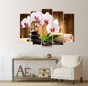 картина орхидеи, арт картина; картина; картина за стена; картина на PVC; картина на канава; картина от 5 части; картина от части; картина от пет части; картина спа; картнно пано; дзен картина; дървена подрамка; орхидея; дзен картина, орхидея, спа камъни, картина за спа салон, картина за спа салон; спа; спа композиция; спокойствие; картна опхидеи;