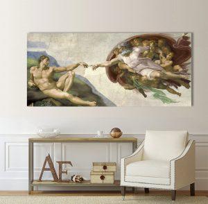 картина Сътворението на Адам, Сътворението на Адам; Микеланджело; репродукция; картина с висока резолюция; канава; канаваца; картина; декоративно пано; декорация за стена; дървена подрамка; висококачествен печат;