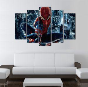 Картина Спайдърмен; Спайдърмен, Марвел комикст; супергерой; комикс герой; детска картина; картина; картина на PVC; картина на канава; картина с висока резолюция; висококачествен печат; декорация за стена; декоративно пано; картина за детска стая; картина от 5 части; картина от пет части; картина от сектори; картина от части;