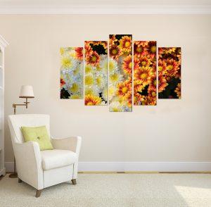 картина от 5 части; картина от пет части; картина от сектори; картина от части; картина хризантеми; хризантеми; картина цветя; цветя; цветна картина; картина за стена; картина на PVC; картина на канава; картина с висока резолюция; декоративно пано; декорация за стена; висококачествен печат;